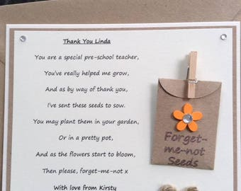 Personalised Thank You poem gift magnet with forget-me-not seeds. Pre-School Teacher with a choice of flower colour