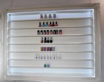 Nail polish display frame rack extra Large Pale Cream Glitter  with LED lighting 137x107cms