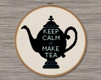 Keep Calm & Make Tea - PDF Cross Stitch Pattern