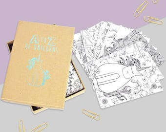 unicorn colouring postcard set