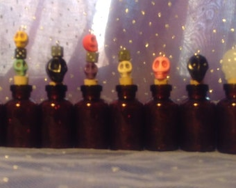 SKULL TOPPED SPELL Bottles - Lot of 10