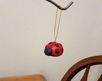 Ceramic Lady Bug Ornament (#845) Red