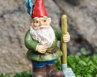 Gnorman Butterfly Gnome Pick for Miniature Garden, Fairy Garden