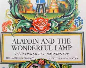 Aladdin And The Wonderful Lamp/1935/ Vintage Hardcover Book