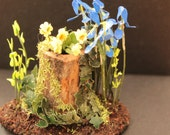 Dolls House Rustic Wooden Log Composition with a selection of Hand Made 112th Scale wild Flowers