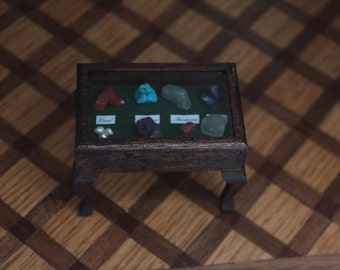 1/12th Scale Dolls House Display Cabinet with Real Gemstones