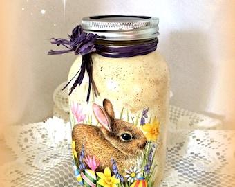 Easter mason jar, bunny decor,hand painted decoupage jar,decorated glass jar,woodland rabbit,Spring decor, Easter kitchen storage, 32 oz.