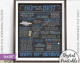 """80th Birthday Gift 1937 Chalkboard Style 16x20"""" Instant Download Digital Printable Poster Sign, 80th B-day, 80 Years Ago Born in 1937 USA"""