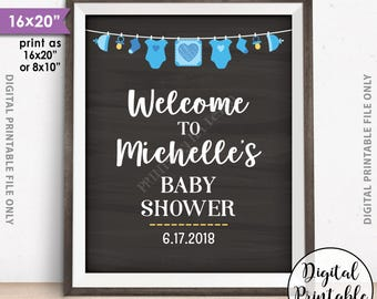 """Baby Shower Welcome Sign, Welcome to the Baby Shower Sign, Baby Shower Decor, Blue Clothesline, 8x10/16x20"""" Chalkboard Style Printable Sign"""