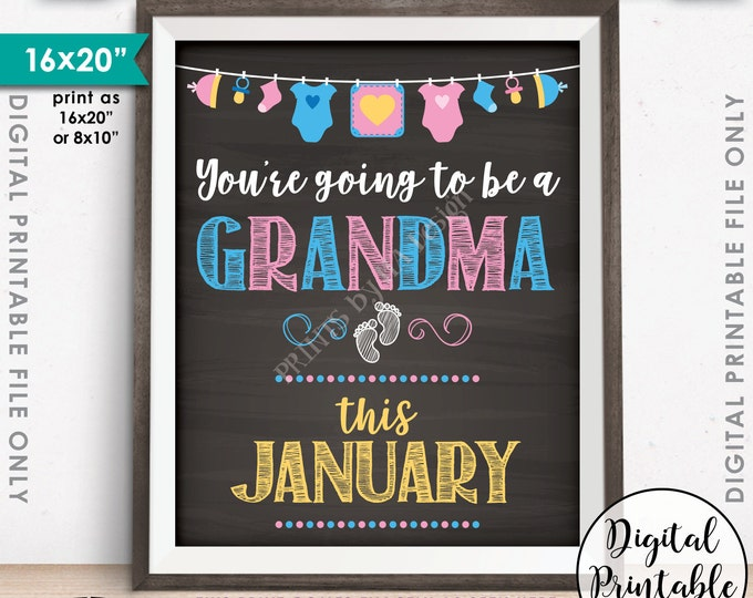 """Pregnancy Announcement, Expecting, Nana, Going to be a Grandma in JANUARY Dated Chalkboard Style PRINTABLE 8x10/16x20"""" Baby Reveal Sign <ID>"""