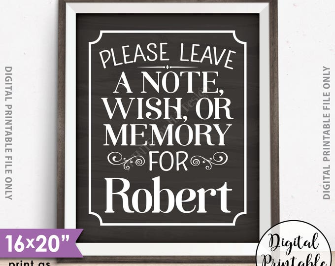 """Please Leave a Message Sign, Leave a Note Wish Memory, Birthday Party, Retirement, Graduation Party, 8x10/16x20"""" Chalkboard Style Printable"""