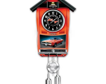 Handcrafted 1969 Dodge Charger Cuckoo Clock With Light And Sound by The Bradford Exchange