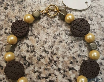 Lava rock and fools gold bracelet