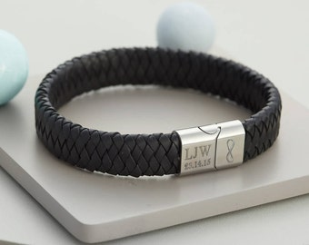 Mens Personalised Infinity Leather Bracelet