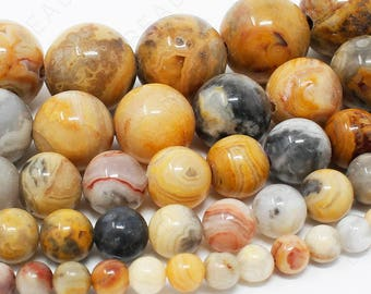 "Crazy Lace Agate Beads Natural Gemstone Round Loose - 4mm 6mm 8mm 10mm 12mm - 15.5"" Strand"