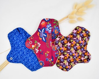 Set of reusable mestrual pads, antiallergic organic cotton, menstrual cloth pads, cloth pads, Woman care, Woman health, washable pads