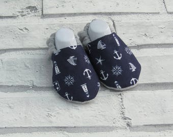 Nautical patterned baby booties, sizes available up to 24 months size, Unique, Fun & Cute!
