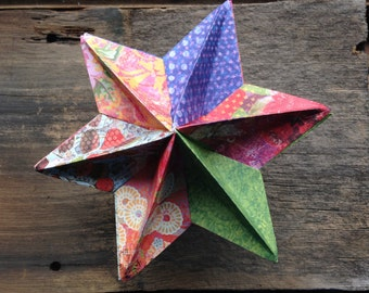 Holiday Star - Origami - Cardstock - Hannukkah, Christmas Tree Decoration, Solstice