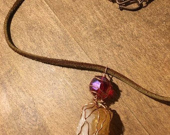 Irodescent Glass & Citrine Healing Wire-wrapped Stone Pendulum Pendant Necklace Copper