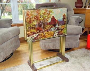 "Set 4 Large Vtg 23"" x 15"" TV Trays Folding Snack Tables Barn / Farm Scene - Signed by Artist Westal"