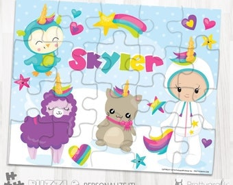 SALES Wanna be unicorn personalized puzzle, 20 pieces puzzle, name puzzle, Personalized name puzzle, Kids Personalized Gift - PU166