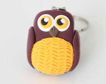 Burgundy and yellow Owl keychain