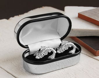 Personalised Chrome Cufflink Box with Leaping Fish Cufflinks ~ Valentines, Fathers Day, Wedding, Anniversary, Birthday Gift