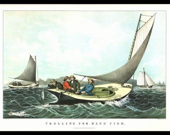 "This is a Large Currier and Ives Bookplate of Trolling for Blue Fish. The page is approx. 18 3/4"" wide and 14"" tall. The image is 15""X10"""