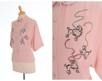 Vintage 1950s style pink poodles print blouse shirt - size M/L