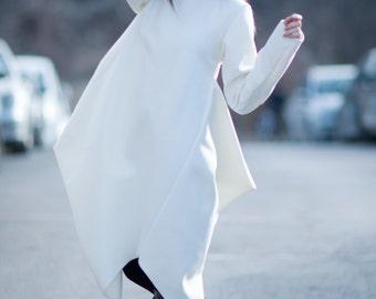 Maxi Dress, White Wool Cashmere Dress, White Casha Asymmetrical Kaftan, White Maxi Dress, White Dress, Kasha Dress by EUGfashion / 3573