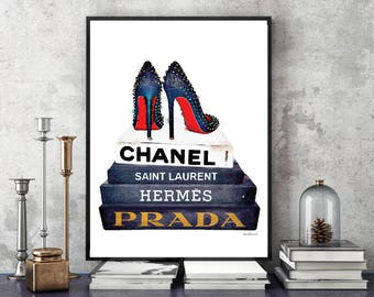 Fashion inspired Watercolor art, books, shoes, heels, designer, fashion, Gold effect, Fashion books bedroom decor fashion illustration decor