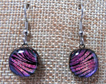 Pink Drop Earrings | Dichroic Glass Jewelry | French Hooks | Dangle Earrings | Fused Glass Jewelry | Dichroic Glass Earrings | Gift for Her