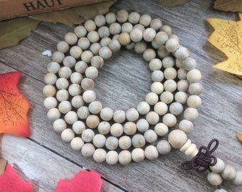 108pc 8MM/6MM Light White Silkwood Beads Meditation Buddhist Japa Mala Necklace