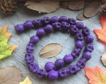 Full Strand Purple Skull Charms 15 inches Turquoise Stone DIY Loose Beads For  Handcrafts Jewelry Findings