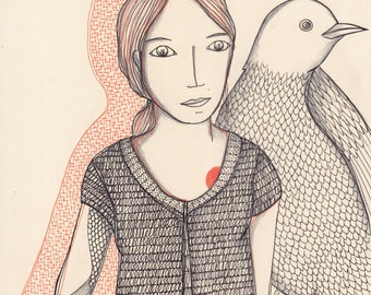 Woman and bird
