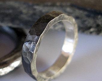 Mens Wedding Band Black Rhodium Silver Wedding Band Mens Wedding Band Man Wedding Ring Black Ring Black Band Man Ring Hammered Silver Ring