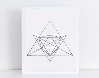 Minimalist Geometric Art, Abstract Linear Print, Silver Wall Decor, Modern Minimalist Poster, Wall Art