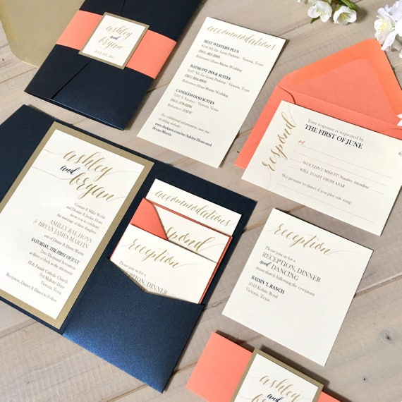 navy coral and gold wedding invitations navy and coral wedding invitations navy and gold pocket wedding invitations - Navy And Coral Wedding Invitations