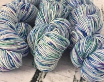 Speckled sock yarn superwash merino, nylon, green, blue, purple, hand dyed