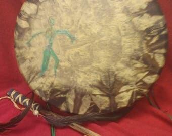 "14""Shamanic Elk skin Green Dancer Drum"