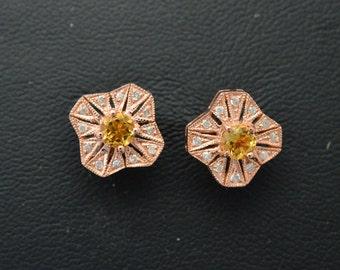 Diamond earrings, 14K Rose Gold earrings , Citrine earrings,  pierced post earrings, birthday gift, unique earrings, bridal earrings 2.9g 1