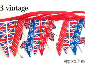 Union Jack  bunting vintage style bunting fabric bunting England bunting home decor bunting patriotic bunting garden bunting red white blue
