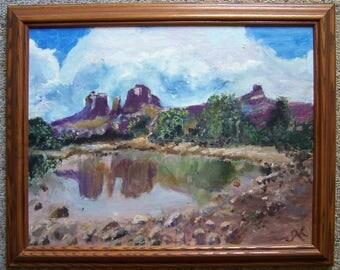 Oil Painting of Red Rock Crossing - Cathedral Rock - Sedona Arizona AZ - Oil Painting by Grand Rapids MI Artist Johanna Kromminga