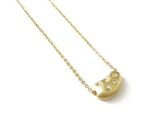 Vintage Crystal Encrusted Bean Necklace
