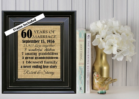 Ideas For 60th Wedding Anniversary Gifts For Parents: FRAMED Custom 60th Wedding Anniversary Gift/60th Anniversary