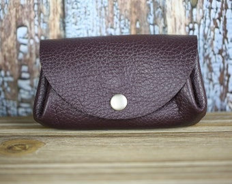 Leather coin purse, Leather change purse, Leather coin pouch