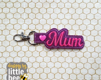 mother, mum snap tab - mother's day mum keychain design - key fob, keychain ITH design - machine embroidery design - 04 28 2017