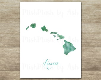 Hawaii Art Print, Hawaii Wall Decor, Hawaii Printable, Tropical Wall Decor, Tropical Decor, Hawaii, Travel Decor, Instant Download,