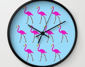 Pink Flamingos wall clocks-Blue kitchen clock-Cool office clock-Tropical wall clock-Decorative clock-Modern Colourful clock-Mid century
