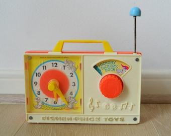Clock music box Fisher Price vintage, 1971; Vintage Fisher Price - Music Box, HICKORY DICKORY DOCK
